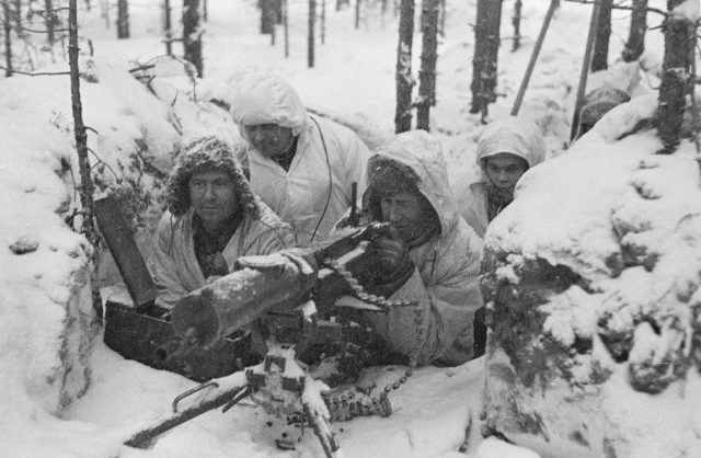 Finnish soliders in the snow WWII